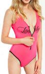 Růžové jednodílné plavky Guess se zipem na přední straně
