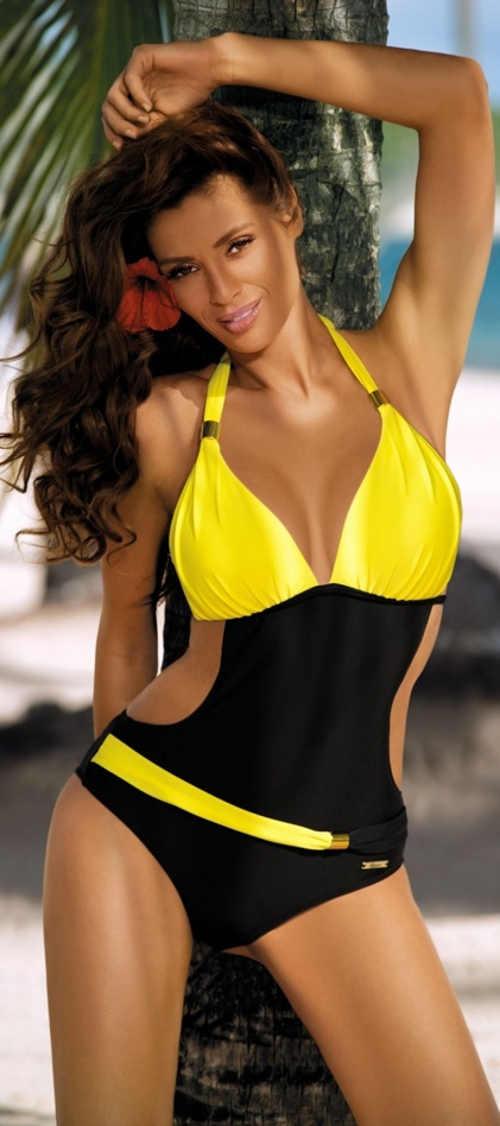 Žluto-černé monokiny Marko s ramínky za krk