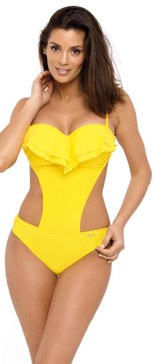 Jednodílné plavky s kosticí v kanárkově žluté barvě