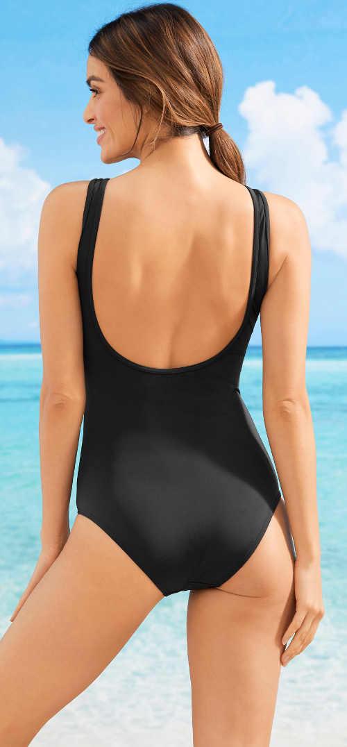 Jednoduché dámské jednodílné plavky s hlubším vykrojením na zádech