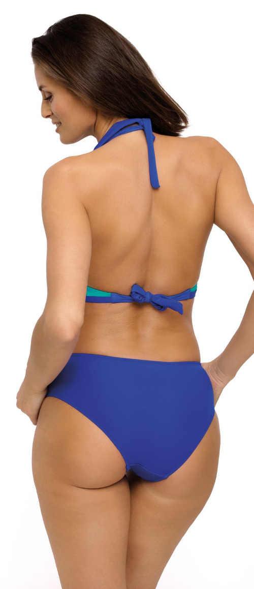 Modré jednodílné dámské plavky s odhalenými zády