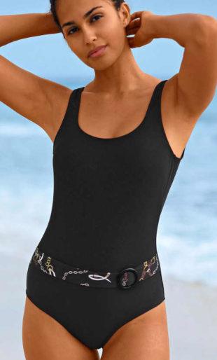 Černé dámské jednodílné plavky s páskem
