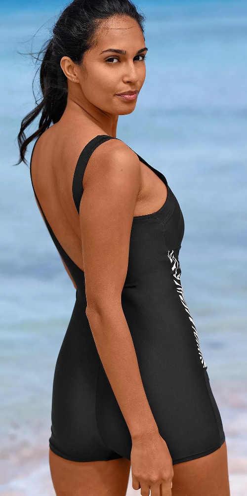 Černé nohavičkové dámské jednodílné plavky