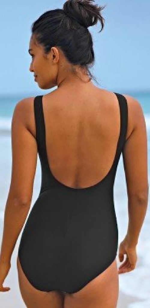 Jednobarevné černé jednodílné plavky Blancheporte výprodej