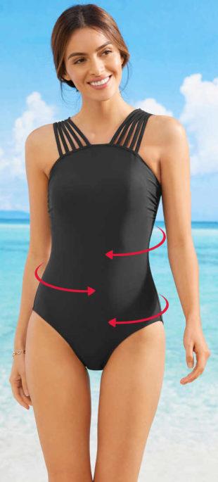 Moderní černé stahovací jednodílné plavky Bonprix