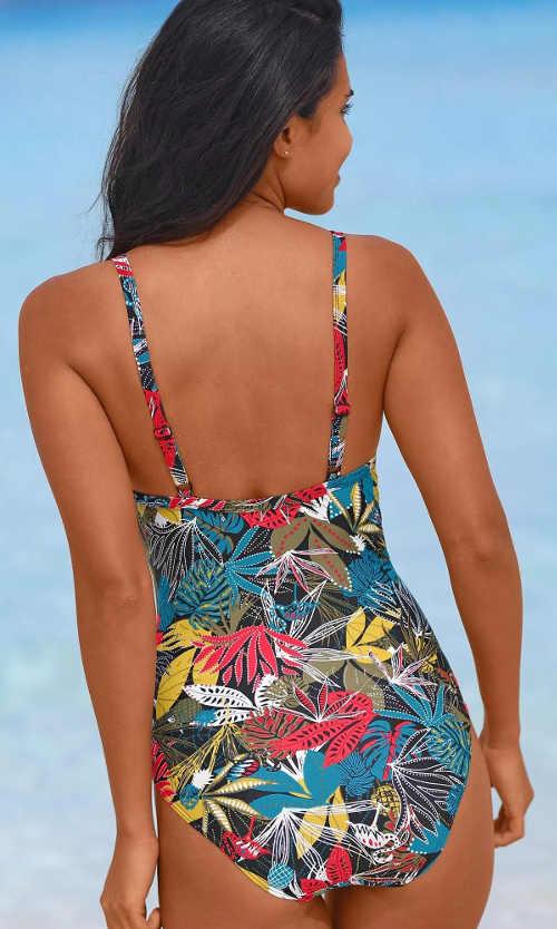 Pestrobarevné květované plavky jednodílného střihu