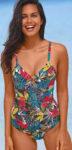 Zlevněné jednodílné dámské plavky Blancheporte s tropickým potiskem