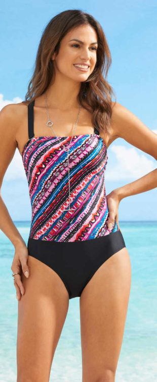 Barevné dámské jednodílné plavky z recyklovaného materiálu