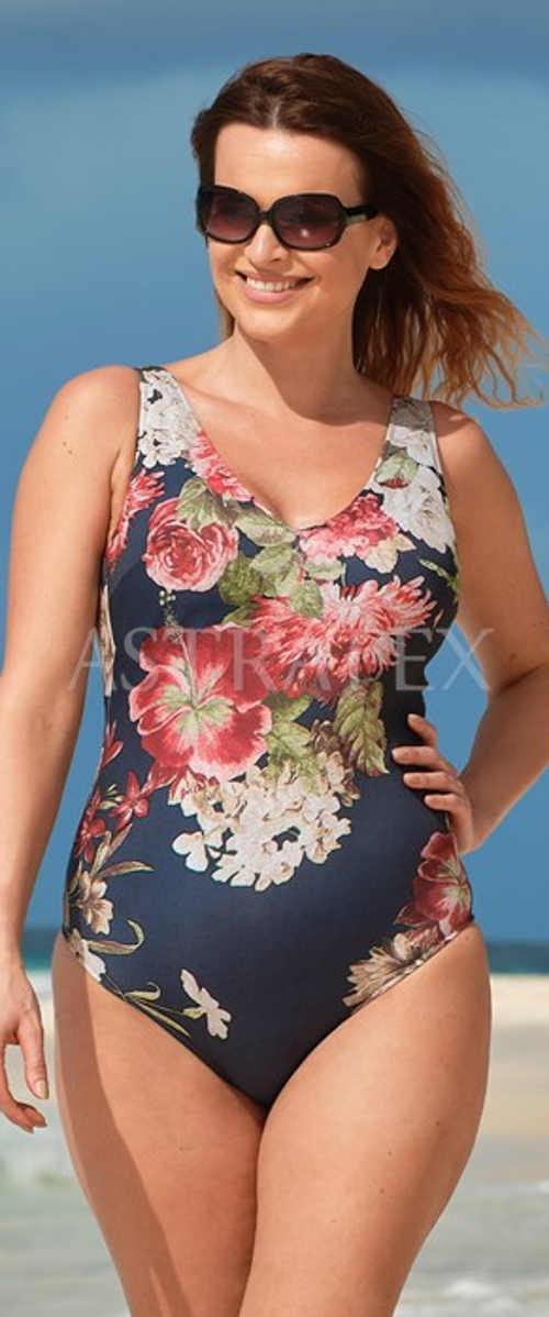 Jednodílné dámské plavky s kontrastním květovaným potiskem