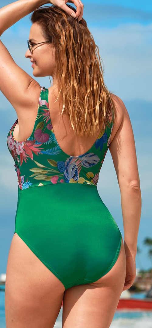 Jednodílné plavky v zeleném provedení