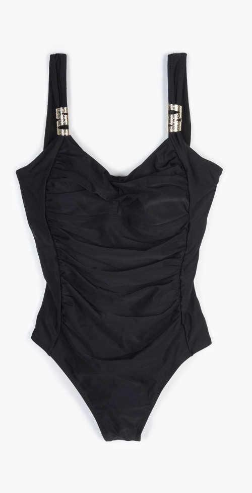 Tvarující černé plavky jednodílné s ozdobou