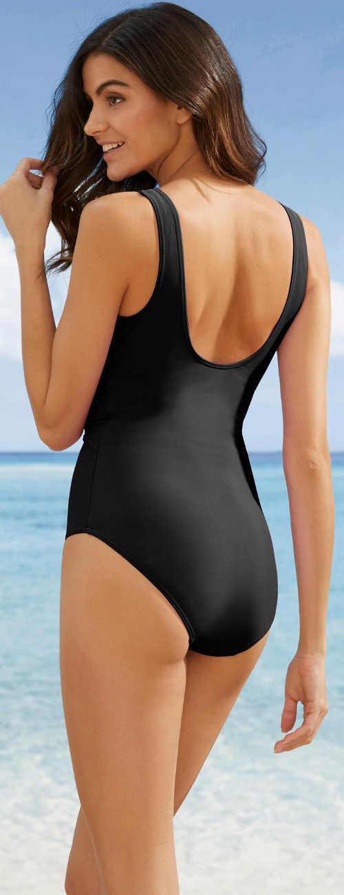 Černé stahovací zeštíhlující jednodílné plavky pro starší