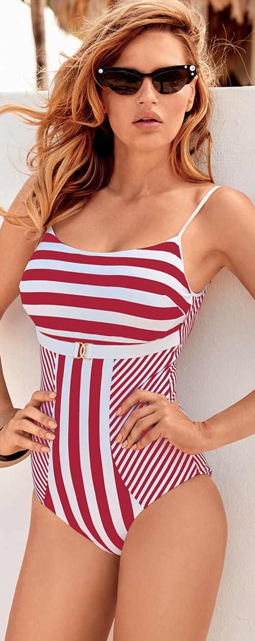 Červenobílé dámské jednodílné plavky s námořnickými retro proužky