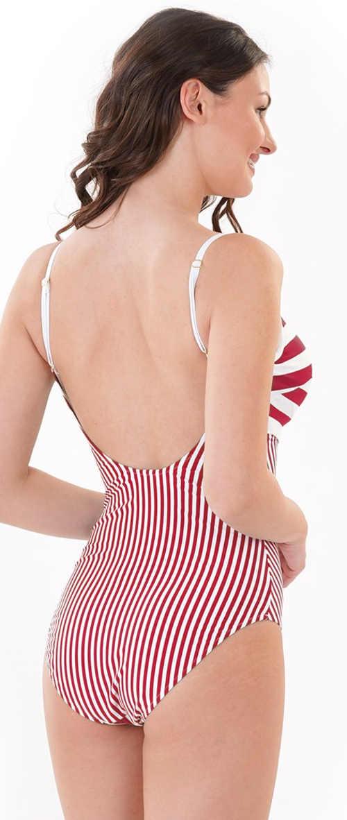 Červenobílé pruhované jednodílné plavky se špagetovými ramínky