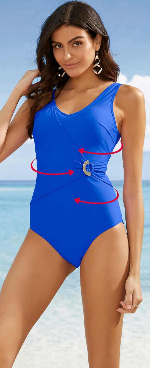 Modré stahovací jednodílné plavky s ozdobnou sponou
