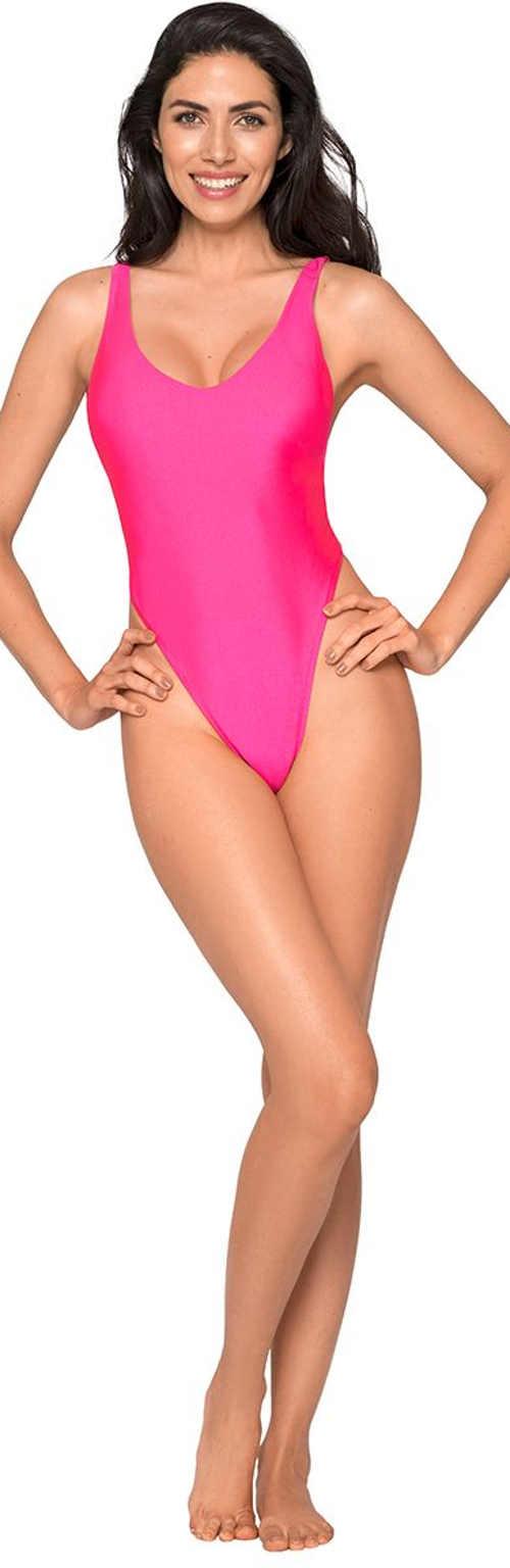 Smyslné růžové jednodílné tanga plavky