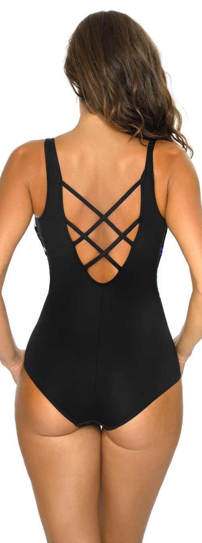 Černé dámské jednodílné plavky s elegantně řešenými zády