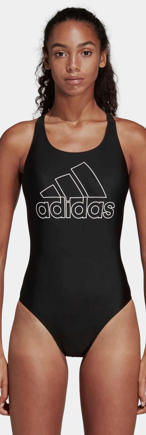 Černé sportovní jednodílné plavky Adidas s nevyztuženými košíčky