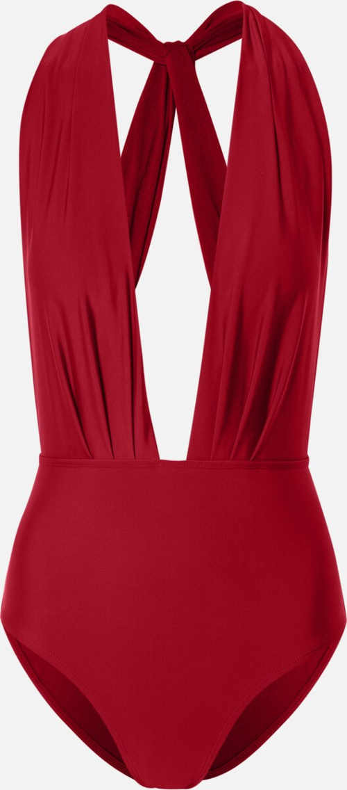 Červené dámské jednodílné plavky s hlubokým výstřihem