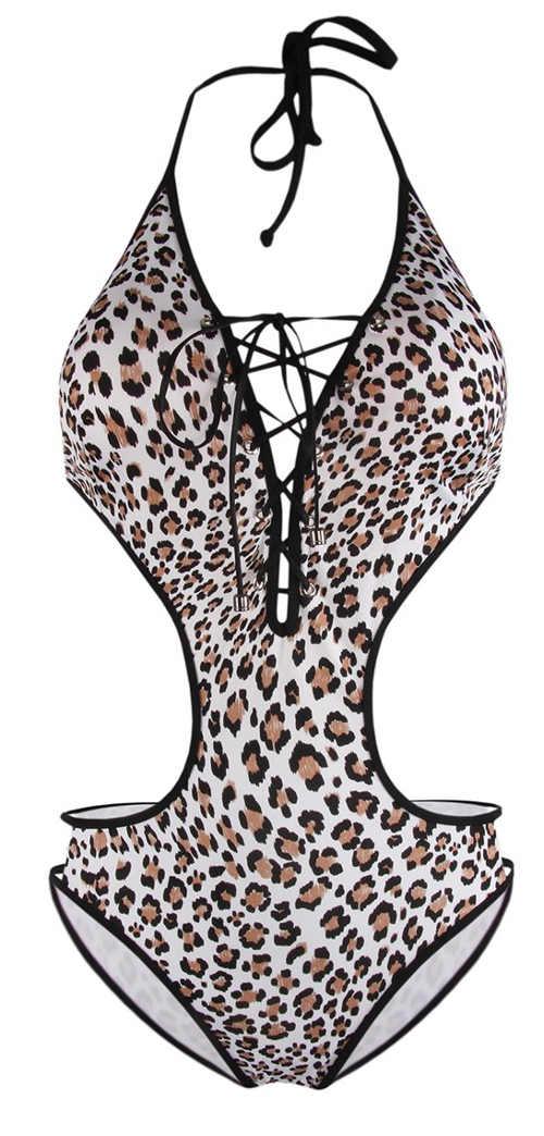 Leopardí dámské jednodílné plavky s hlubokým výstřihem se šněrováním