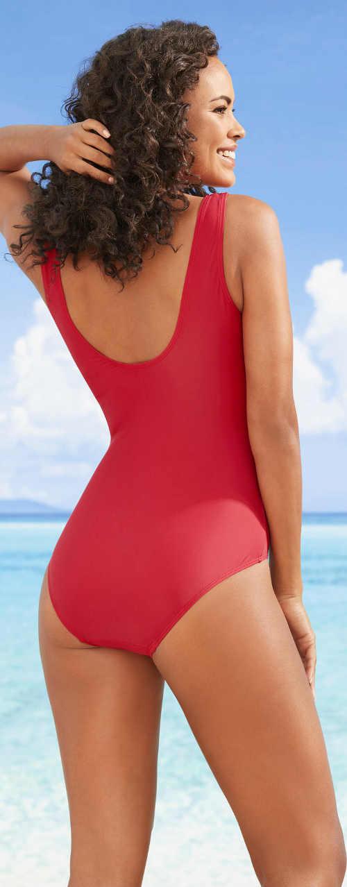 Levné červené jednodílné dámské plavky Bonprix