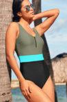 Jednodílné dvoubarevné plavky se zipem v přední části
