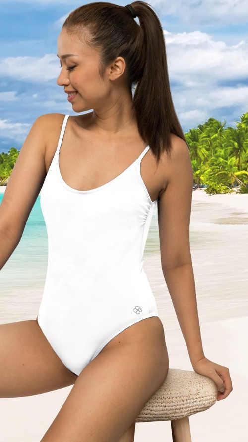 Jednodílné plavky sportovního střihu v bílém provedení