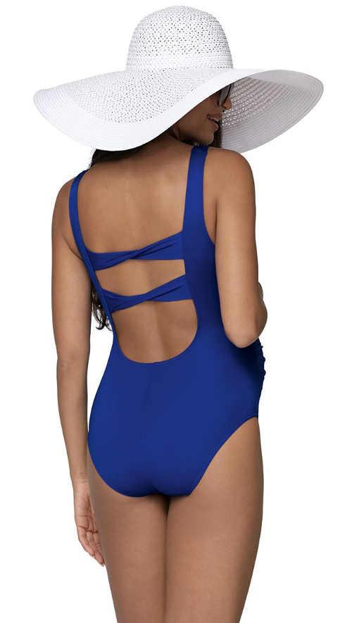 jednodílné plavky pro nastávající maminky v modrém provedení