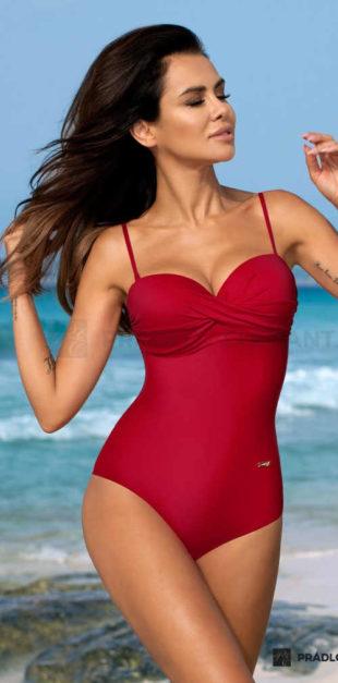 Jednodílné červené plavky v elegantním provedení