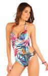 Jednodílné plavky s květovaným vzorem a průstřihem na boku