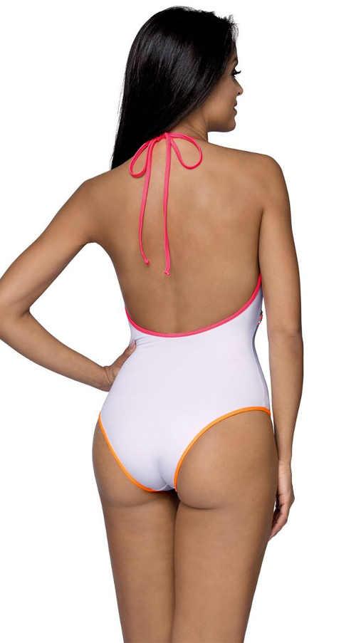 bílé jednodílné plavky se zavazováním za krkem