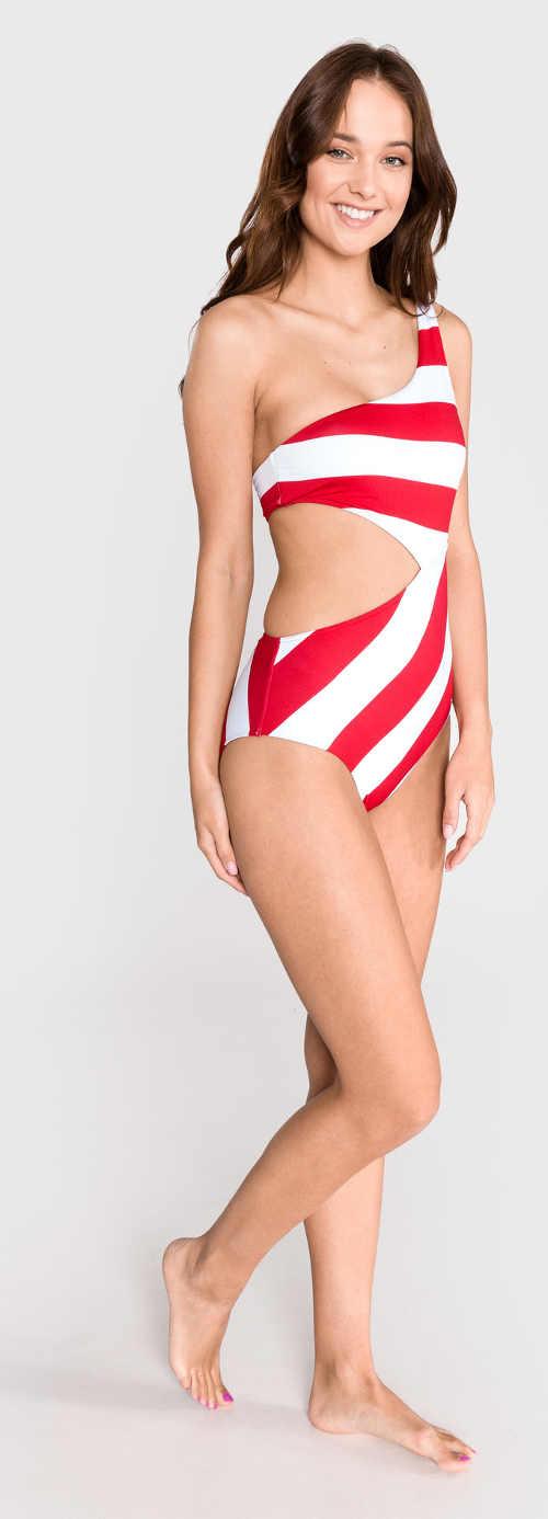 dámské červeno-bílé plavky Tommy Hilfiger