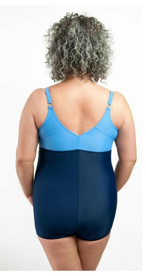 plavky vcelku modré pro dámy plnějších tvarů