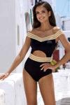 Interesantní černo-zlaté plavky v impozantním sexy střihu
