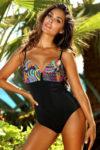 Trendy jednodílné plavky s barevným vrškem vyztužené s kosticemi