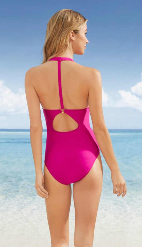 jednodílné plavky fuchsiové barvy