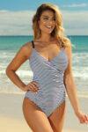 Jednodílné dámské plavky v módním námořnickém stylu