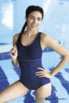 Jednodílné mírné vyztužené luxusní plavky v modrém provedení