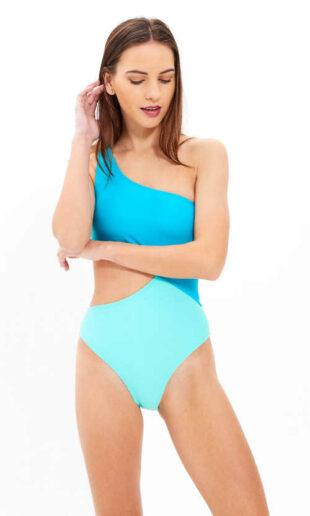 Stylové plavky ve dvoubarevném provedení na jedno rameno