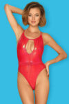 Červené nevyztužené vykrojené plavky s průstřihem a páskem