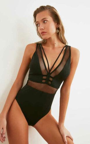 Dámské černé sexy plavky s průhlednými vsadkami