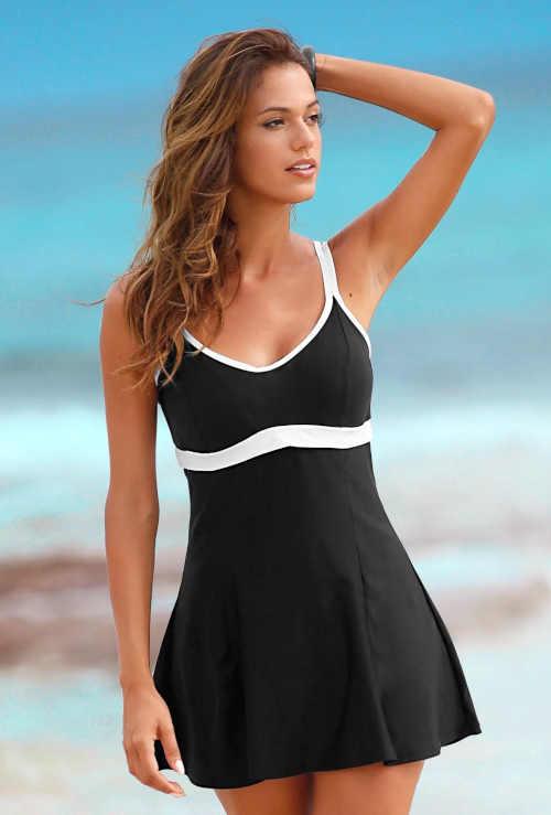 Jednodílné černo-bílé moderní plavky se sukénkou