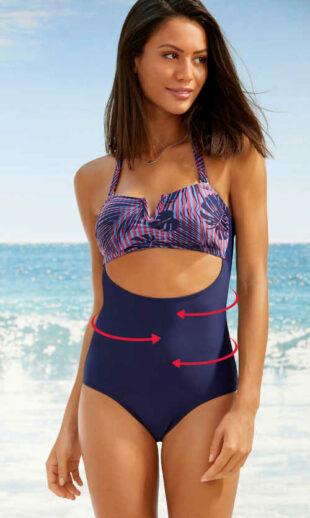 Moderní stahovací plavky s efektivním průstřihem pod prsy
