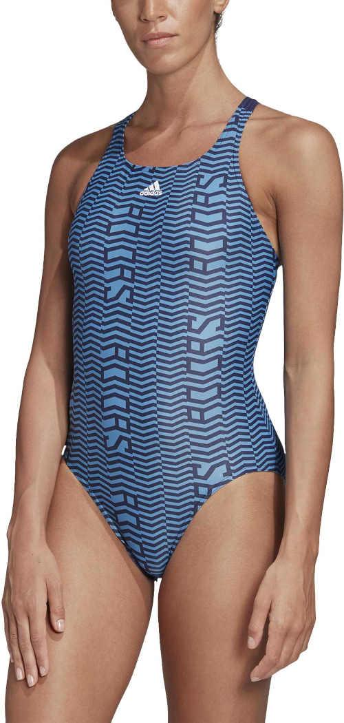modré sportovní jednodílné plavky Adidas