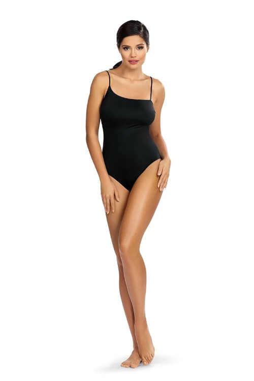 Luxusní černé jednodílné dámské plavky bez kostic