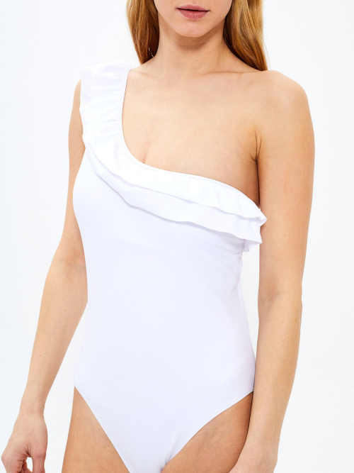 bílé plavky s volánkem