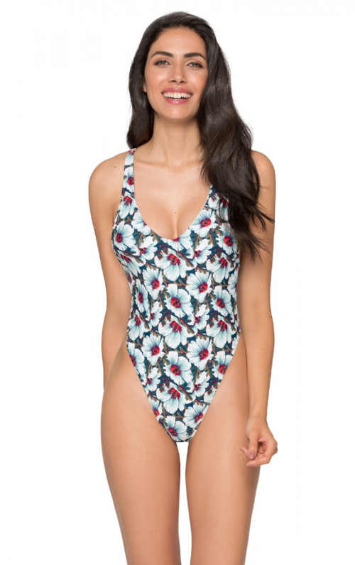 Květované dámské jednodílné plavky s tanga střihem